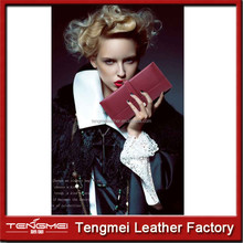 wholesale fashion brand folding genuine women leather wallet for lady