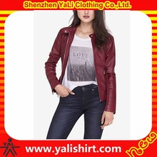 Wholesale high quality cheap red band collar motorcycle fitness women leather suede fringe jacket