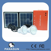 solar power system with the 3.4w solar panel and 2pcs LED light for home