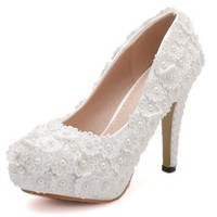 China factory wholesale white lace flower high heel bridal shoes