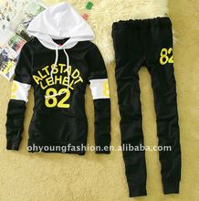 2012 casual CVC ladies long sleeve refective printed pullover sportwear/hooded sweater coat