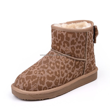 Korean cheap warm snow printed cow boots for girls