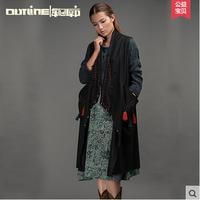 Outline 2015Original Design Vintage National Style Wool Vest Medium-long Sleeveless Tassel Outwear Women Vest Jacket