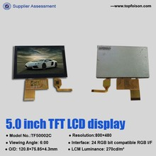 5.0 inch 800x480 capacitive touch screen with RGB tft lcd display and LOCA bonding TF50002C