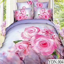 100% cotton 3d printed fabric bedding set king size rose pattern 3d duvet cover set luxury wedding bed sheet set