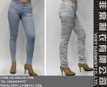 nueva colección slim fit flaco tramo de impresión de tela jeans pantalones de las mujeres