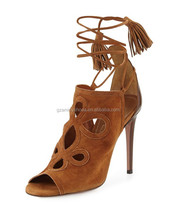 2015 Latest fashion high quality high heel summer sandals with lace up for women