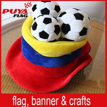 felt world cup crazy football fans hat with 3 mini footballs decoration