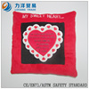 Plush cushion or pillow(heart embroidery), Customised toys,CE/ASTM safety stardard