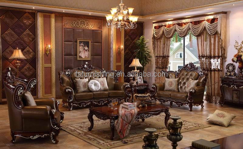 Kb089 European Style Solid Wood Italian Top Real Thick Leather Luxury Baroque Antique Living