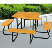 Garden furniture picnic wood decking bench and table