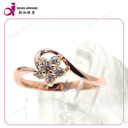 Fashion CZ rings design for weddingbrass rose gold plated rings