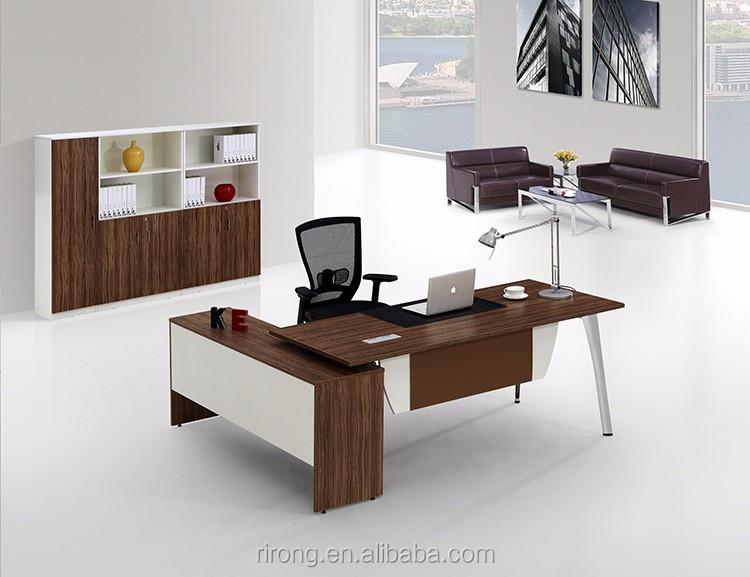 Mesa de la oficina moderna l en forma de madera maciza for Mesa oficina en l