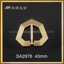 Song A Metal fancy belt buckle polygonal with corners 43mm brushed gold pin buckle