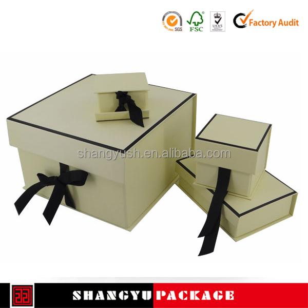 flat gift paper folding box with ribbon