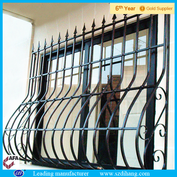 Wrought iron window grill design decorative