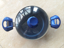 2015 new kitchenware design blue nonstick pots with strainer lids
