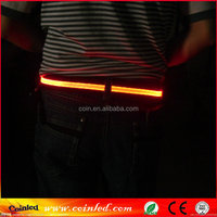 2015 new arrival elastic led flashing belt with 3m reflective tape~hot sale adjustalbe led light belt waistband