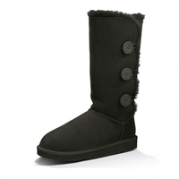 Hot selling black outdoor knee furry winter snow boot for woman