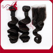 Wholesale Best Selling Virgin Indian Hair Remy Loose Wave with lace closures