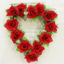 Red Rose with leaves wedding decoration wreath