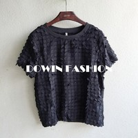 2015 3D fake collar tie chiffon wafer joint tshirt short sleeved blouse