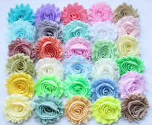 """2.5"""" solid chiffon shabby flower trims 62 kinds of colors in stock"""