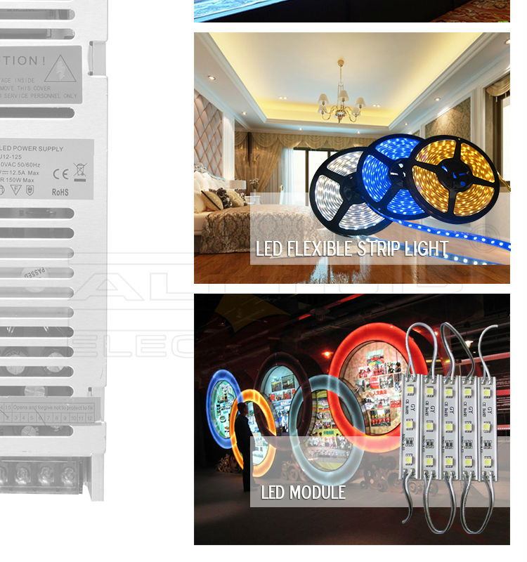 150w Constant Voltage 12V 24V LED Power Supply for led strip light/Christmas lights