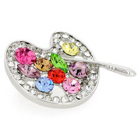 P168-545 fashion fancy gold and silver rhinestone trendy painters crystal palette brooch