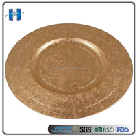 Wholesale Polypropylene Decorative Gold Charger Plate
