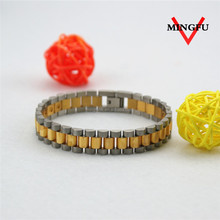 "7.8"" custom mens plated 22k gold bracelet with negative ion"