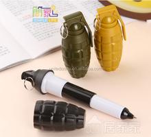 2014 Hot Sale Wholesale Small MOQ Plastic Grenades Shape Three color Ballpoint Pens
