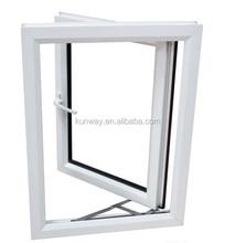 Design Acoustical Insulation Plastic PVC Double Swing Glass Casement Window