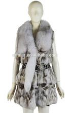 2015 elegante señora desgaste de piel de zorro ropa de piel de oveja con pluma de invierno abrigo de zorro