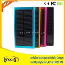 Aluminium Alloy portable usb power bank mini solar charger for tablet pc or cellphone