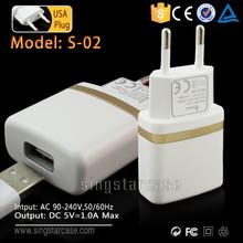 Wholesale UK EU US Plug 5V 2A Portable Mobile Phone Charger Micro USB Wall Charger
