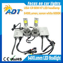 Car SUV Truck LED Headlight H7 Head Lamp Kit 6500K 80W 6000LM White