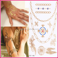 New Fashionable 2015 temporary sexy flash tattoo matel gold silver bronze sticker for body