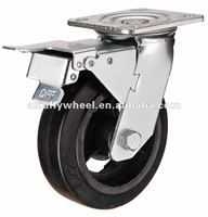 N29 Mold on rubber caster double brake heavy duty caster
