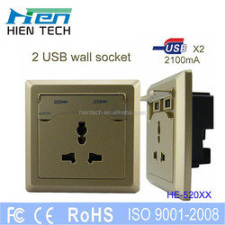 USB socket socket tongue with 2 usb output ports 5v2100mA suit for mobile phone and tablets charging 3 colors