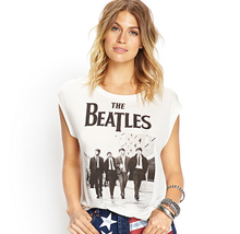European Style The Beatles Band Photo Printed Round Collar Women Cotton Tank Top