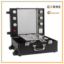 (without leg) trolley leather makeup box with light