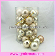 57mm-100mm fashionable christmas glass ball PVC barrelled packing,Trade Assurance supplier