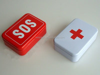 100pcs SOS / + Tin Box Case Emegency Lid Container for Survival Gear Kits Set Self-Help First Aid Metal Pill Box 96x66x30 mm