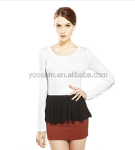 Export Garment From China Women's longline T Shirt /Long Sleeve T Shirt /Stitching Color T Shirt