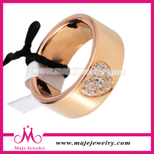 Stainless steel gold heart ring luxury gold stainless steel ring with zircon ring