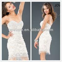 Fashion Mature Women Tassels Style Sweetheart Sleeveless Sequined bodice Chiffon White evening short dresses 2014 XT-074