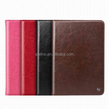 2015 Hot sale Genuine Leather Smart Stand Back Cover with Card Slot convenient Handle tape leather case for iPad mini