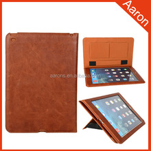 luxury genuine leather book stand cover for ipad tablet case