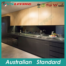 AIS-KC-908 Matt black kitchen base cabinet, wood grain kitchen furniture, Australian house kitchen